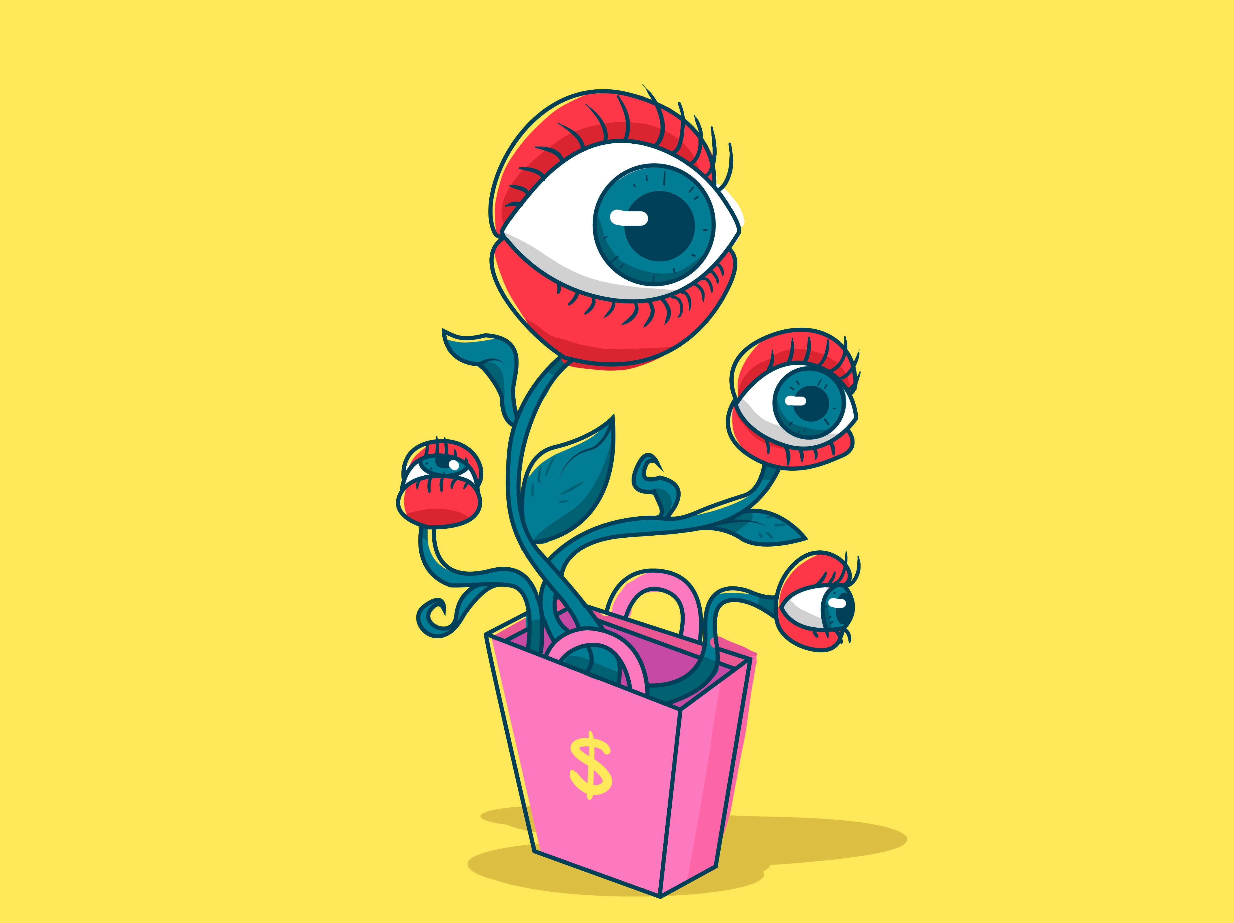 ilustração de olhos saindo de uma sacola de compras