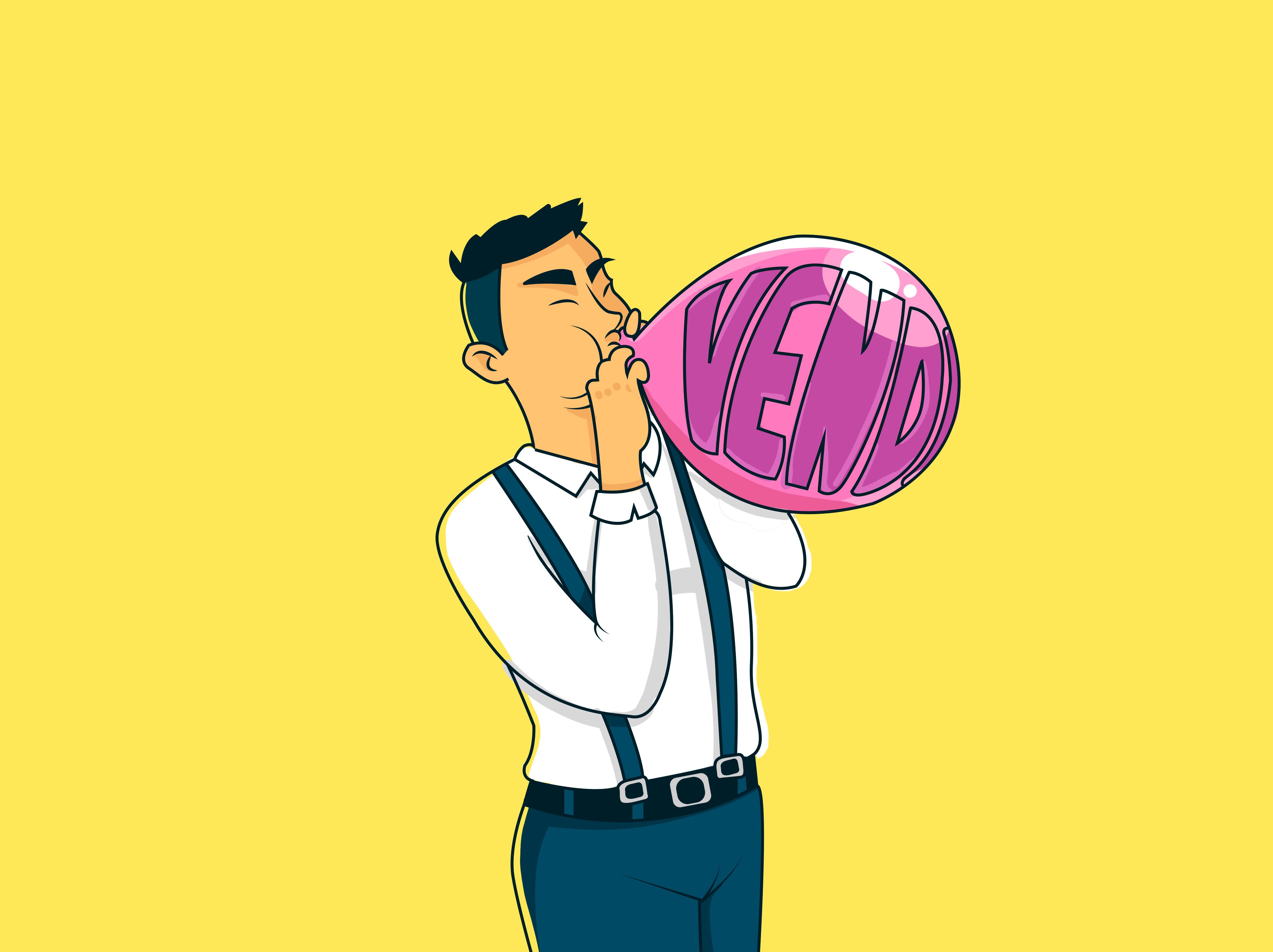 ilustração homem enchendo balão