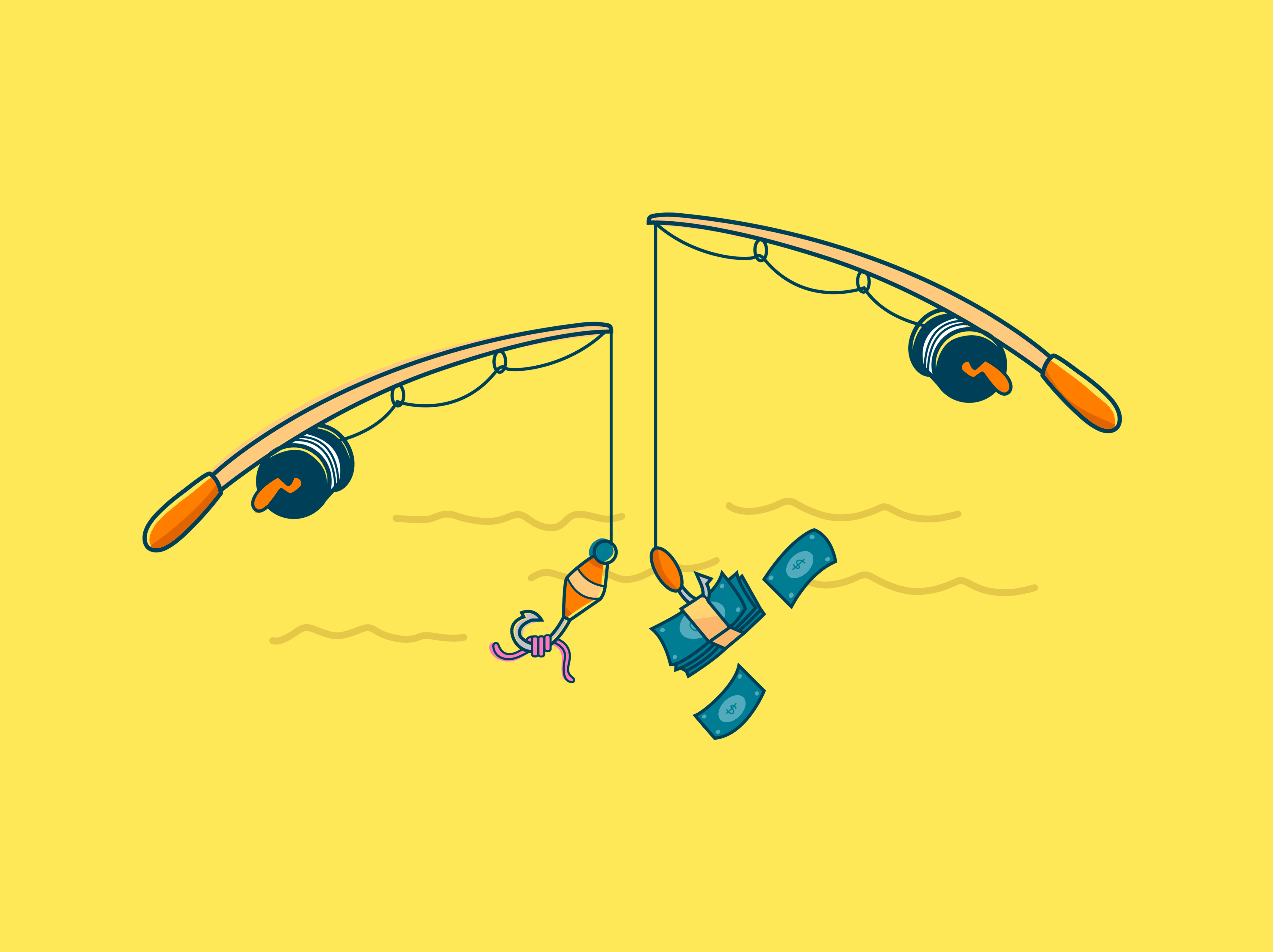 ilustração vara de pescar