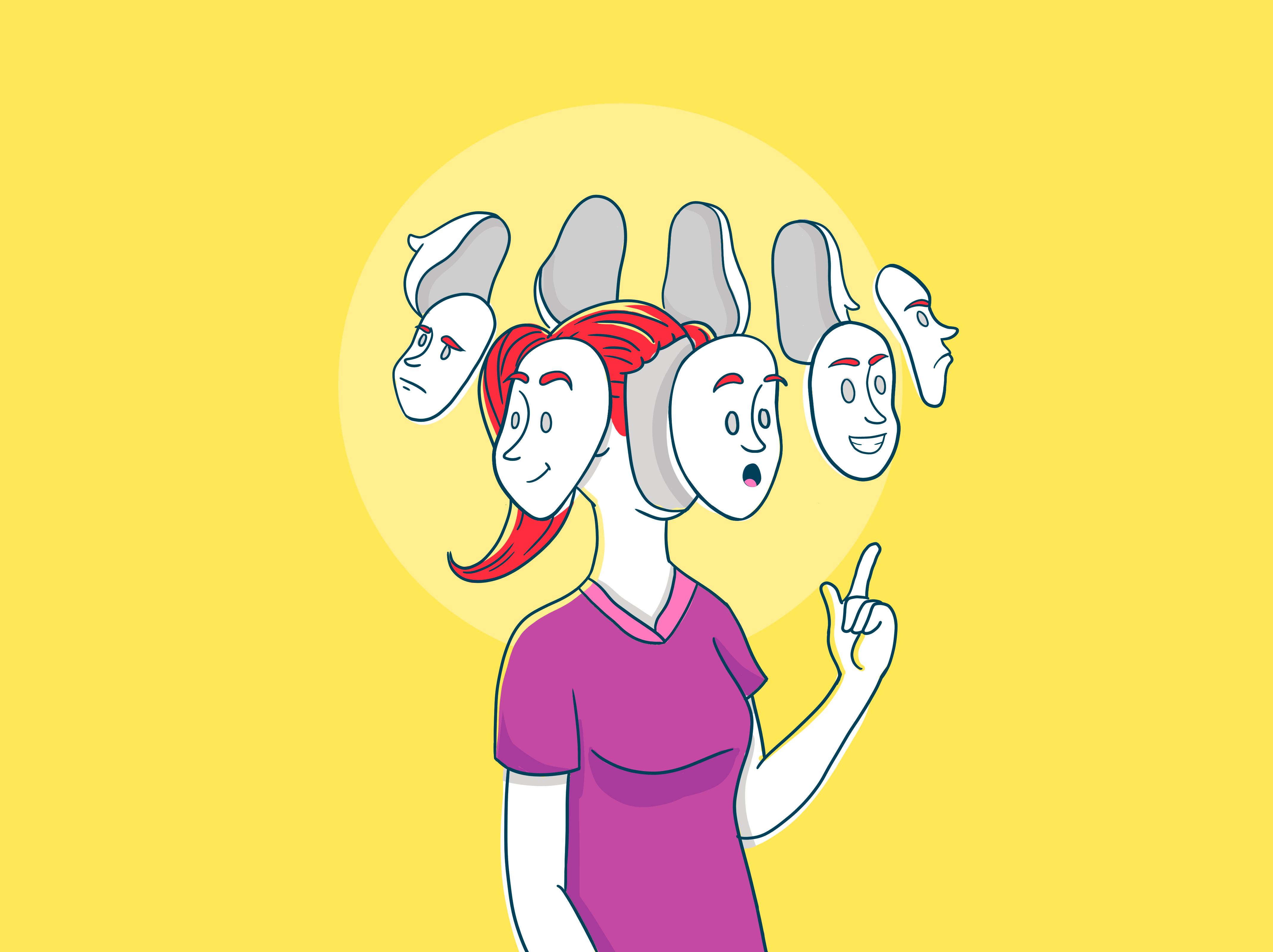 ilustração jovem com várias facetas
